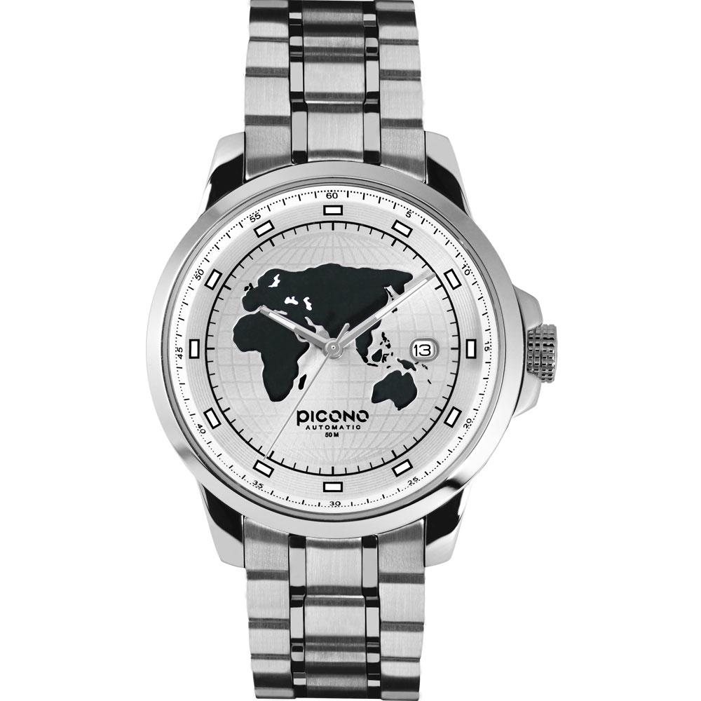 PICONO 國際系列 放眼國際時尚腕錶-銀/48mm