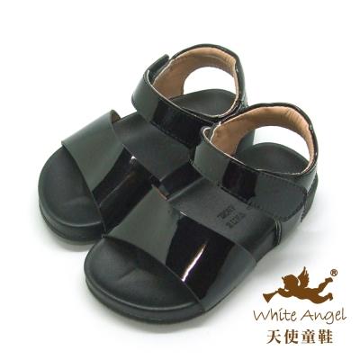 天使童鞋-C2406 亮面簡約涼鞋 (小童)-黑