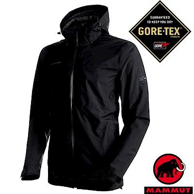 【瑞士 MAMMUT 長毛象】男新款 Gore-Tex 防水透氣風雨衣_黑