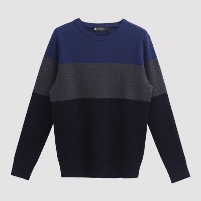 Hang Ten - 男裝 - 色塊橫紋針織毛衣 - 藍