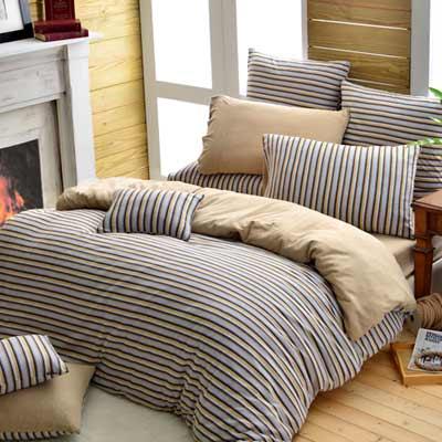 義大利La Belle 斯卡線曲 雙人四件式色坊針織被套床包組-黃