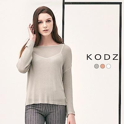 東京著衣-KODZ 質感透膚微性感設計多色針織上衣-附背心-(共三色)