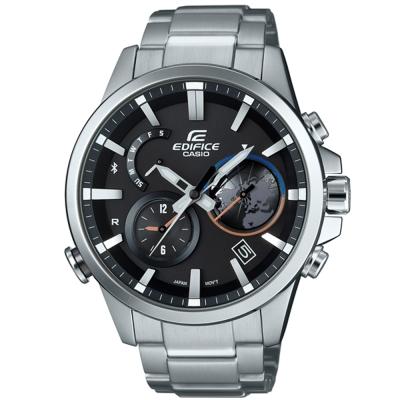 EDIFICE地球錶盤3D設計藍牙傳輸賽車錶(EQB-600D-1A)-銀/47.3mm