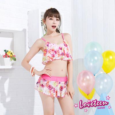 夏之戀SUMMERLOVE  浪漫花卉短版三件式泳衣