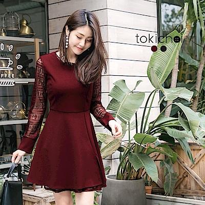 東京著衣 甜美性感蕾絲拼接洋裝-S.M(共二色)