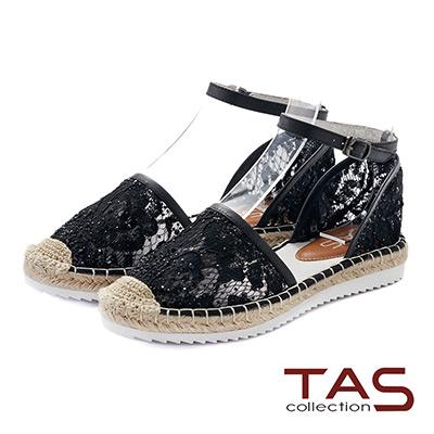 TAS 水鑽蕾絲踝繫帶草編涼鞋-亮麗黑