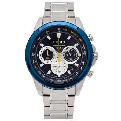 SEIKO 極速感三眼計時男性手錶(SSB251P1)-藍色/45mm