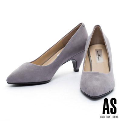 高跟鞋-AS-細緻羊麂皮素面尖頭高跟鞋-灰