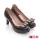 BESO蜜舞蝶戀-亮皮拼接塑膠蝴蝶鉚釘高跟鞋
