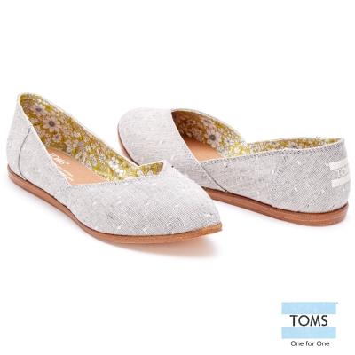 TOMS 圓點織紋平底尖頭鞋-女款(灰)