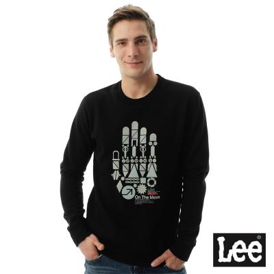 LEE 刷毛大學T機械手掌-黑-男款