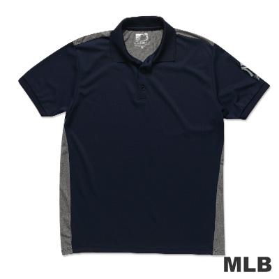 MLB-紐約洋基隊修身撞色快排POLO衫-深藍男