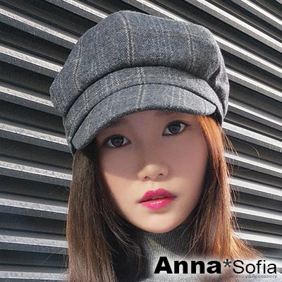 AnnaSofia 復古線格絨面 混棉報童帽貝蕾帽(灰系)