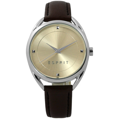ESPRIT 簡約百搭超凡品味真皮女錶-米黃x深咖啡/36mm