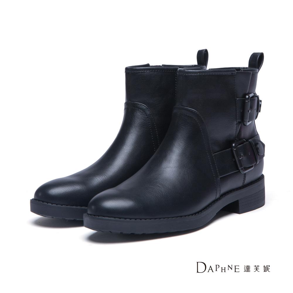 達芙妮DAPHNE 短靴-雙排扣帶工程靴-黑8H