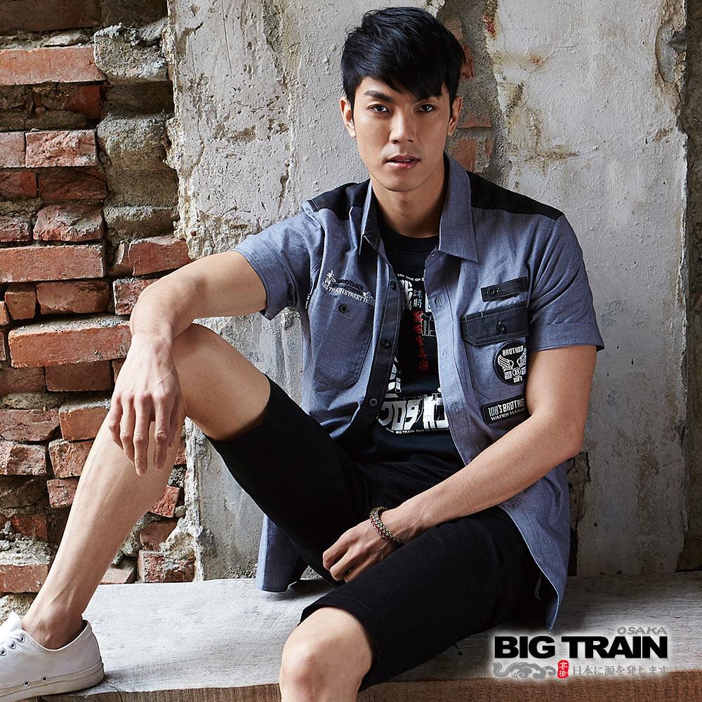 BIG TRAIN 素色貼標短袖襯衫-男-黑灰