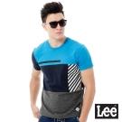 Lee 色塊拼接URBAN RIDERS短袖T恤-男款-藍