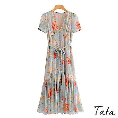 V領單排釦印花洋裝 TATA
