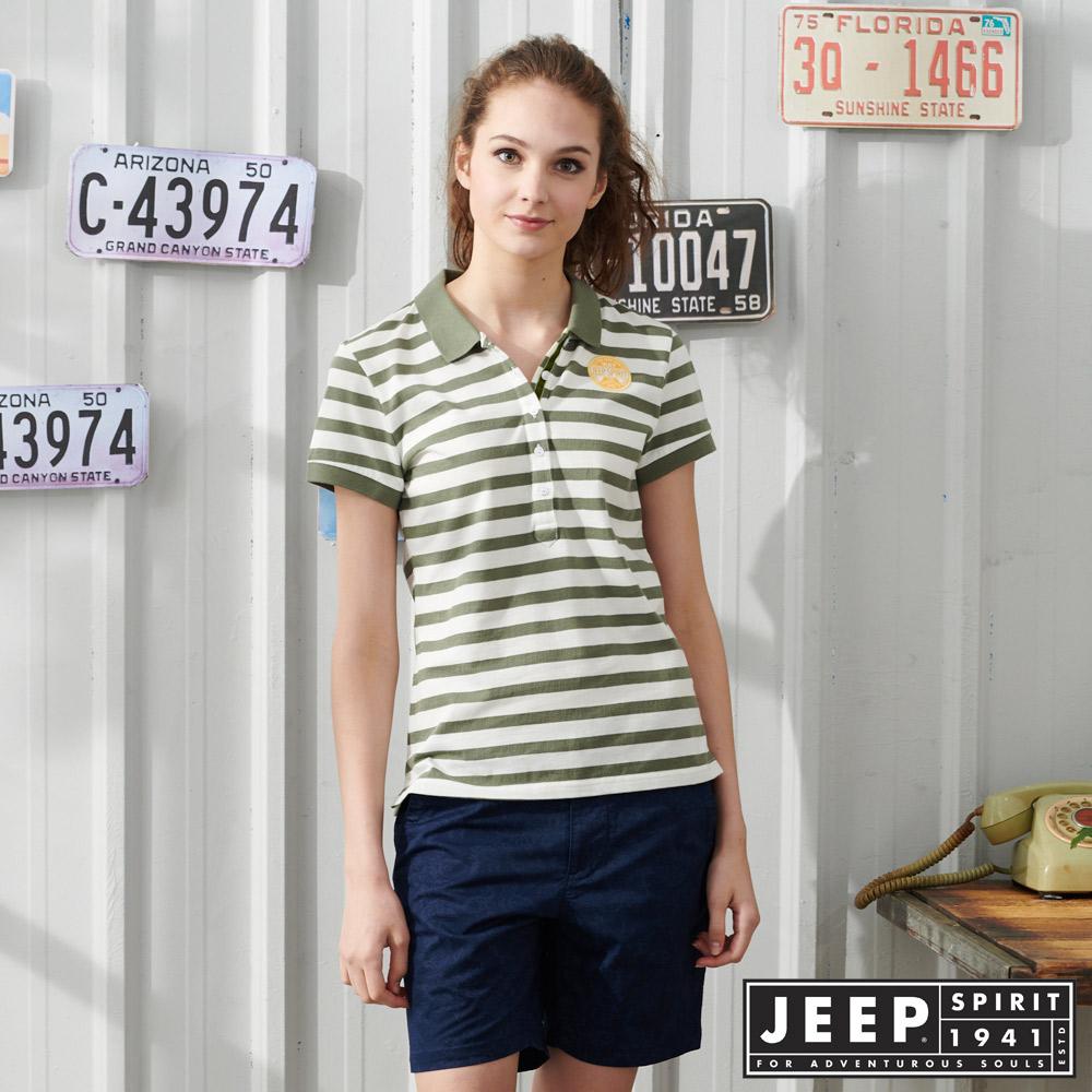 JEEP 女裝 經典條紋吸濕排汗POLO衫-綠色