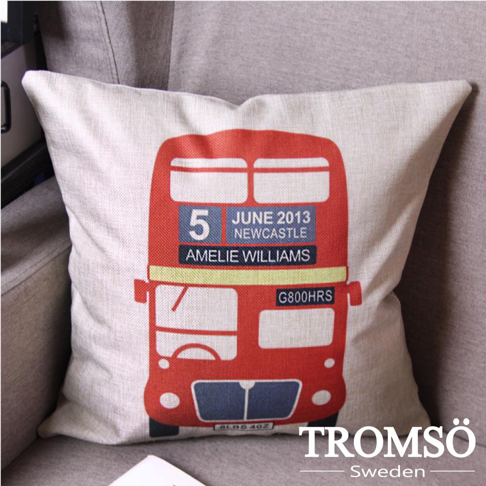 TROMSO-品味英倫棉麻抱枕/英倫大巴士