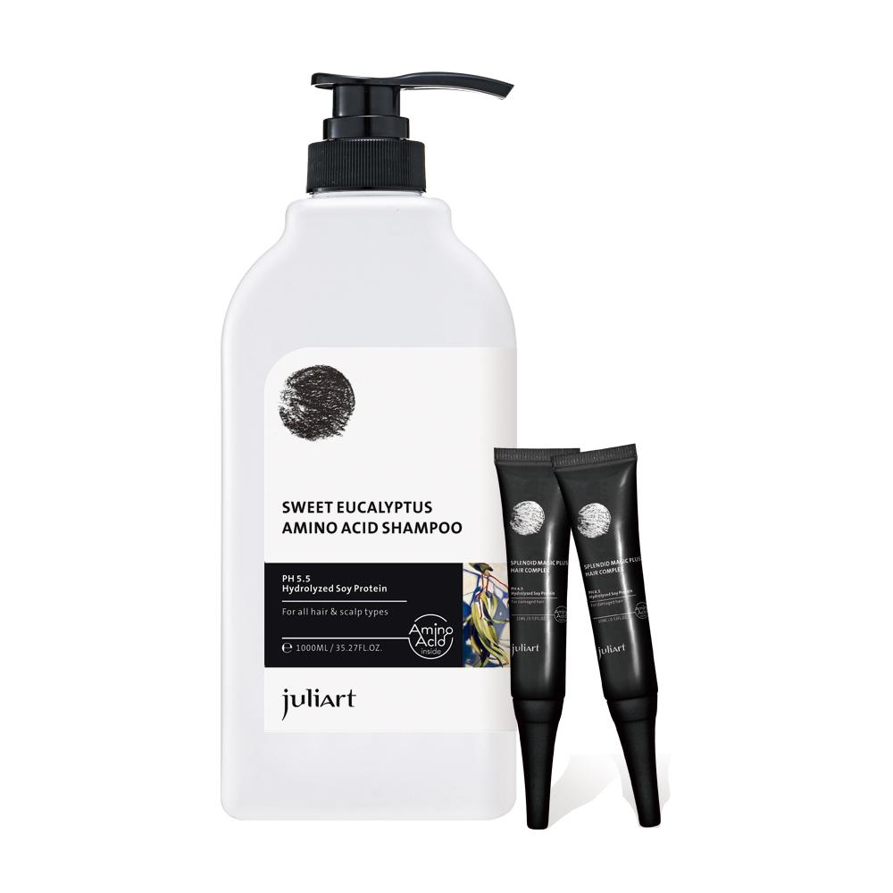 JuliArt 控油調理洗髮組(恬靜尤加利洗髮精1000mL+魔髮精靈x2)