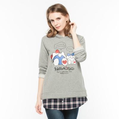 Hang Ten - 女裝 - Kitty仿兩件式格紋印花上衣 - 灰