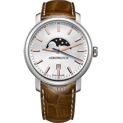 AEROWATCH Renaissance moon 復刻石英腕錶-銀x淺咖啡/40mm