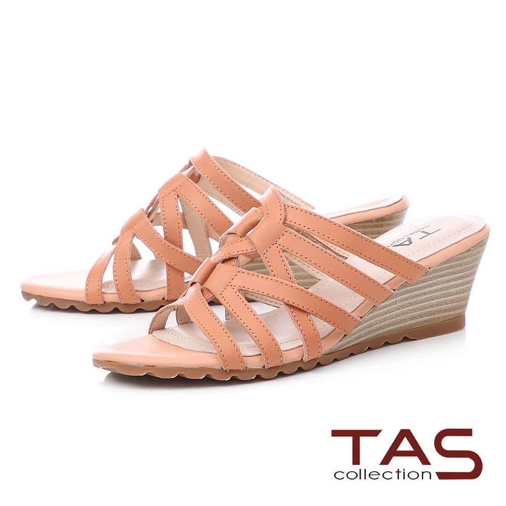 TAS 8字型牛皮繫帶楔型涼拖鞋-夏日橘