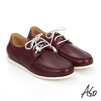A.S.O 輕量抗震 蠟感真皮綁帶奈米帆船鞋 酒紅色