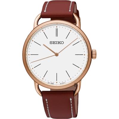 SEIKO精工 城市時尚薄型女錶(SUR238P1)-銀x玫塊金框x咖啡/35mm