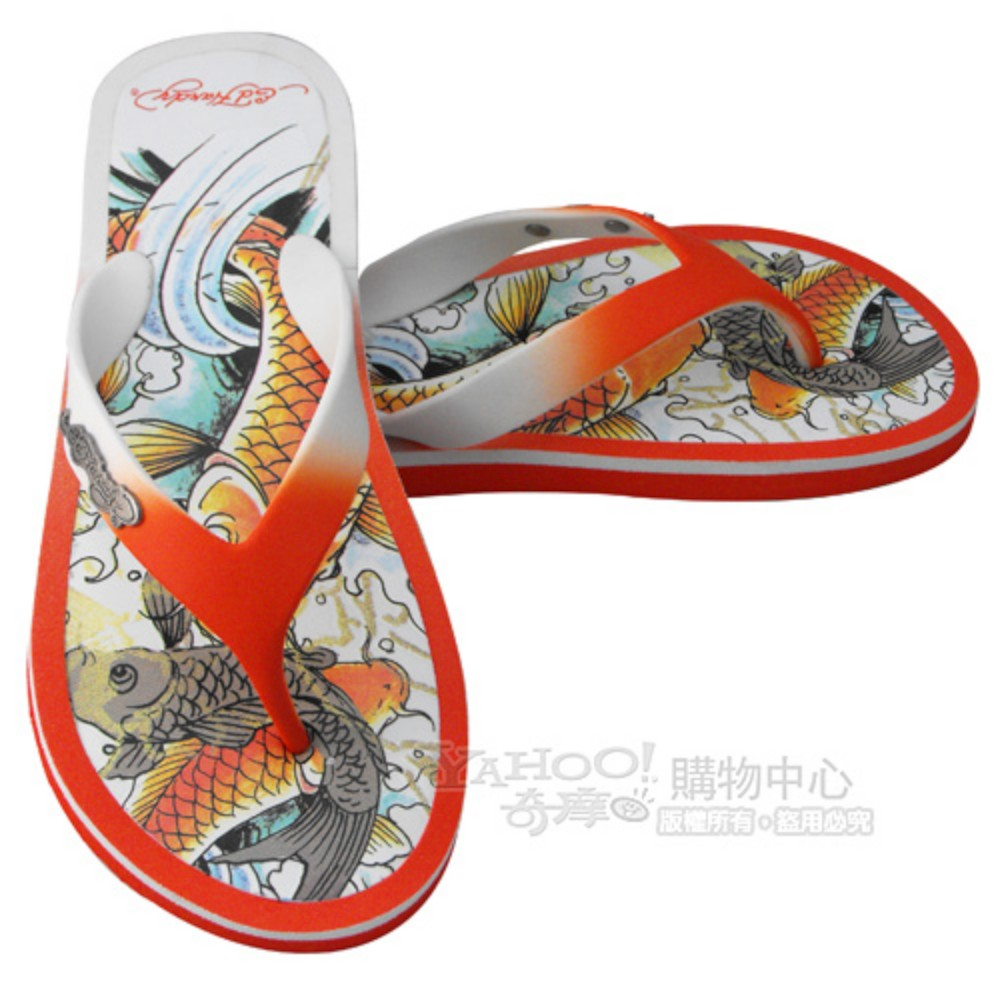 【ED Hardy】鯉魚女海灘鞋-橘紅