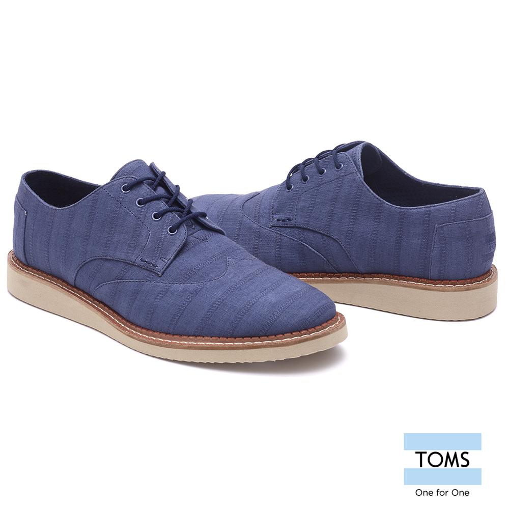 TOMS藍染織紋牛津鞋-男款藍