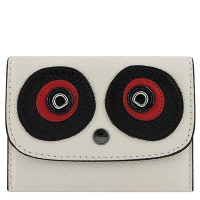 COACH 白色防刮皮革立體大眼睛貼飾證件名片短夾