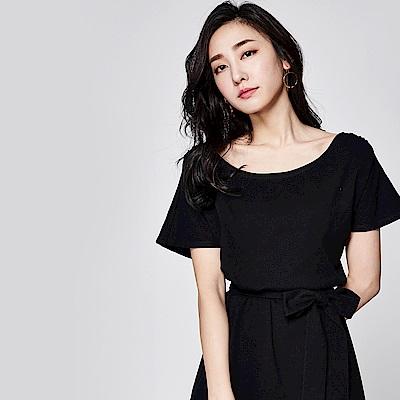 SUITANGTANG 舒適棉質綁帶洋裝-黑