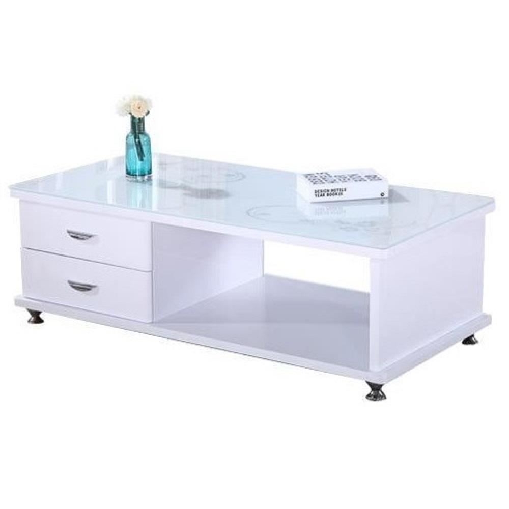 AT HOME-現代設計白色玻璃印花大茶几(120*60*44cm)