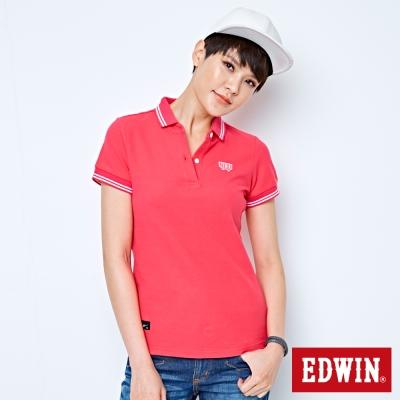 EDWIN POLO衫 簡潔都會POLO衫-女-桃紅色
