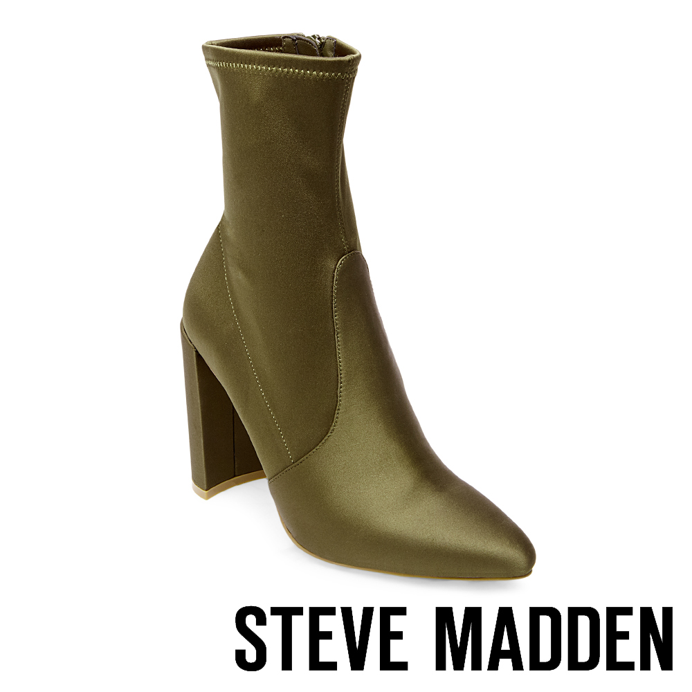 STEVE MADDEN-TONY 尖頭粗高跟拉鍊短靴-墨綠