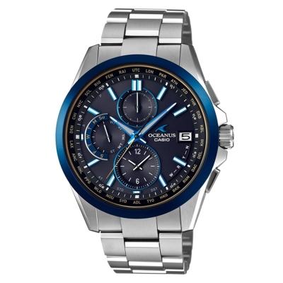 OCEANUS 優雅與科技兼具輕薄美型鈦合金電波錶(OCW-T2600G-1A)藍框X藍面