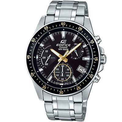 EDIFICE 大氣風格時尚腕錶(EFV-540D-1A9)黑x金/43.8mm