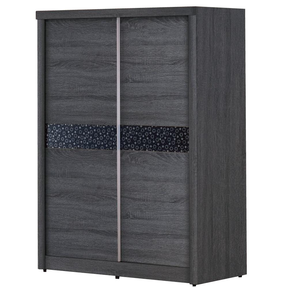 品家居 伊庭5尺浮雕深色推門衣櫃-146x60.6x197cm-免組
