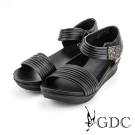 GDC-韓風時尚水鑽魔鬼沾楔型厚底一字涼拖鞋-黑色
