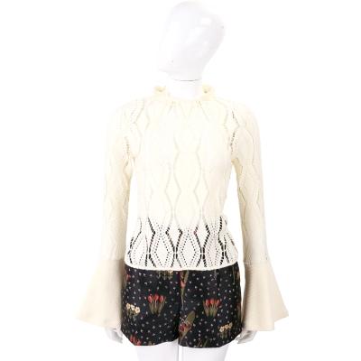 SEE BY CHLOE 米色縷空寬口袖針織上衣(附內裡)