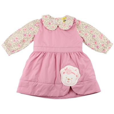 愛的世界 MYBABY 小熊甜心舖棉長袖背心裙套裝/2~6歲
