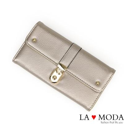 La Moda 約會不敗單品防刮十字紋壓紋大容量質感長夾(銀灰)