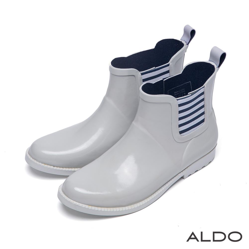 ALDO 仙履奇緣原色系漆皮幾何條紋中筒雨靴~典雅灰色