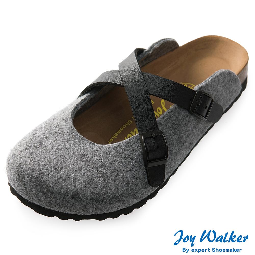 Joy Walker 經典交叉包頭拖鞋*黑灰