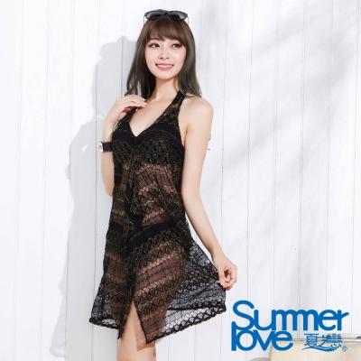 夏之戀SUMMER LOVE 優雅黑連身裙三件式泳衣