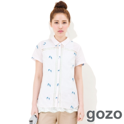gozo-落葉感個性透膚襯衫-共二色