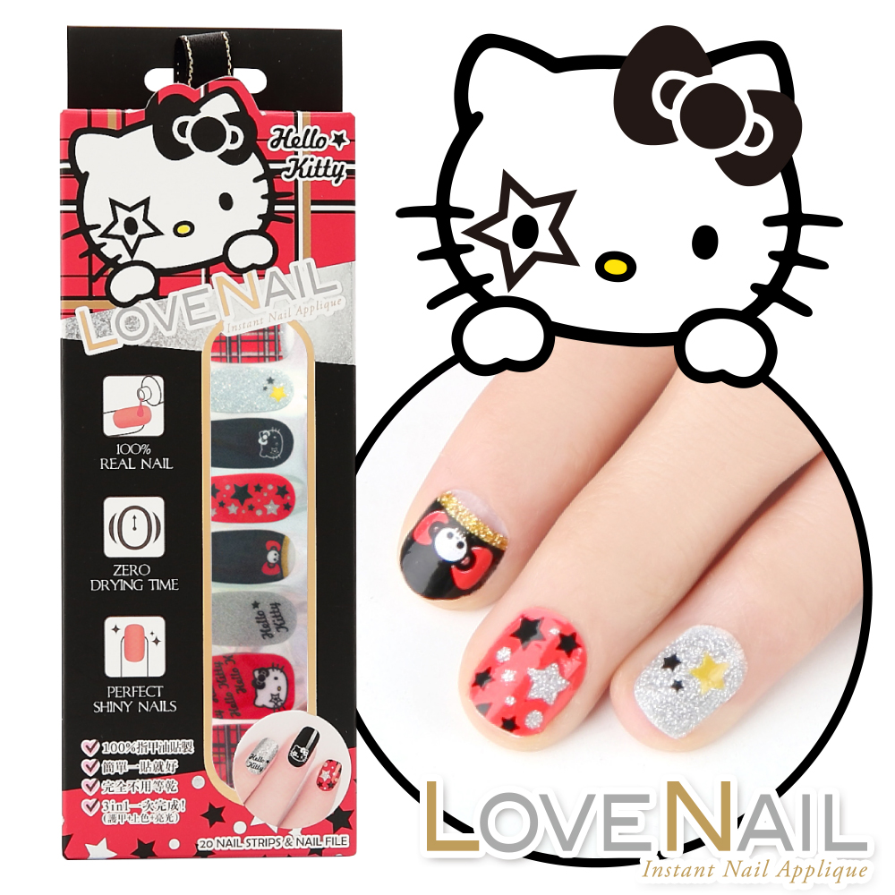 Hello Kitty x LOVE NAIL限定版指甲油貼-搖滾英倫格紋