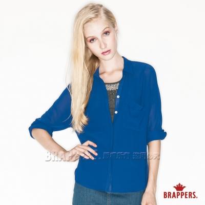 BRAPPERS 女款 女用口袋雪紡襯衫-寶藍